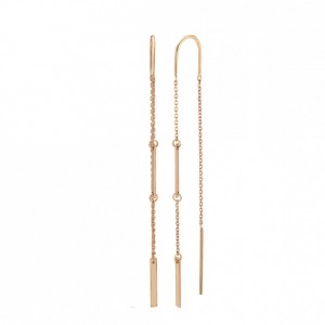 Золотые женские серьги цепочки 580110