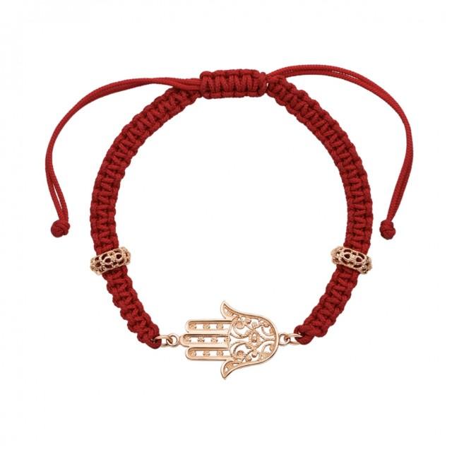 Золотой браслет Хамса на красной нити 07200/125