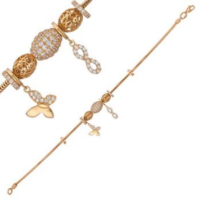 Золотой женские браслет с шармами 4228054101