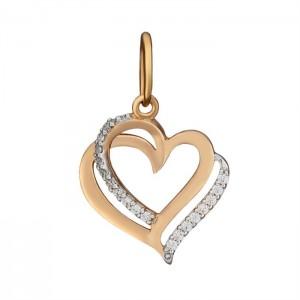 Золотой подвес с цирконием Сердце 310407010