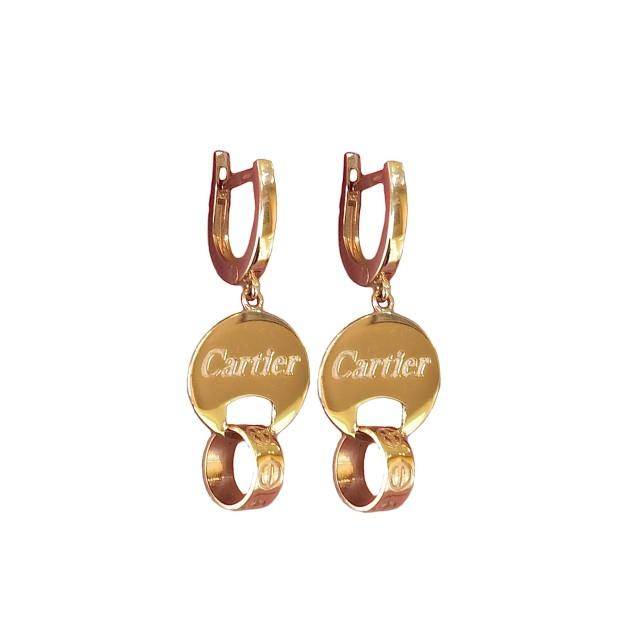 Золотой серьги-подвески 617572