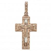 Золотой крест с эмалью и фианитом 270090Е