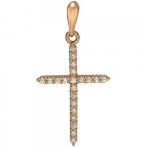 Золотой крестик с фианитами 260031