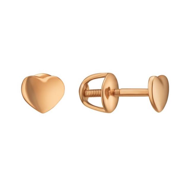 Золотые серьги-гвоздики сердечки 2007928101