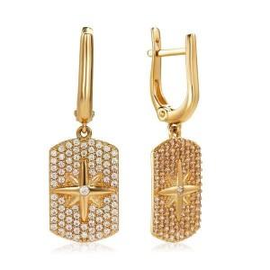 Золотые женские серьги СВ1448