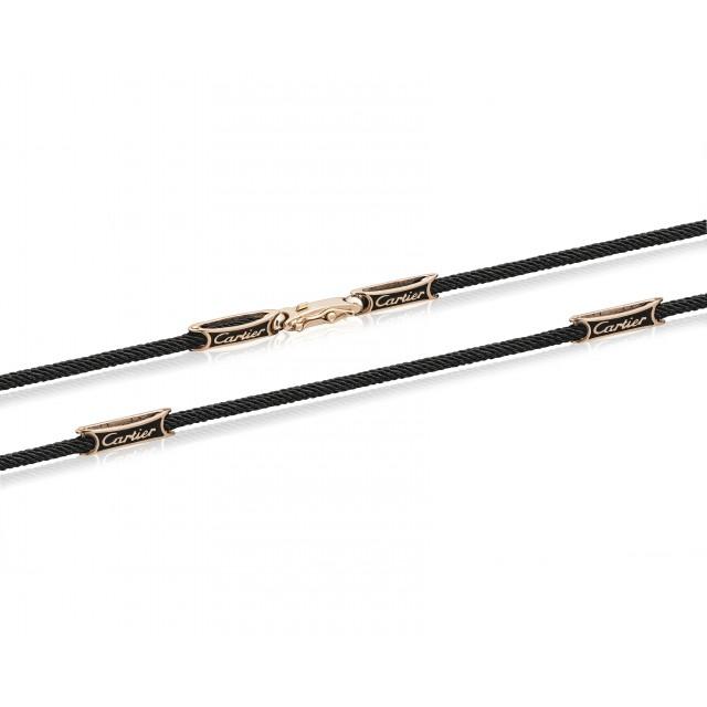 Шёлковый шнурок с золотыми вставками 0035