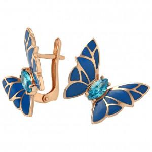 Золотые серьги бабочки с эмалью 430882