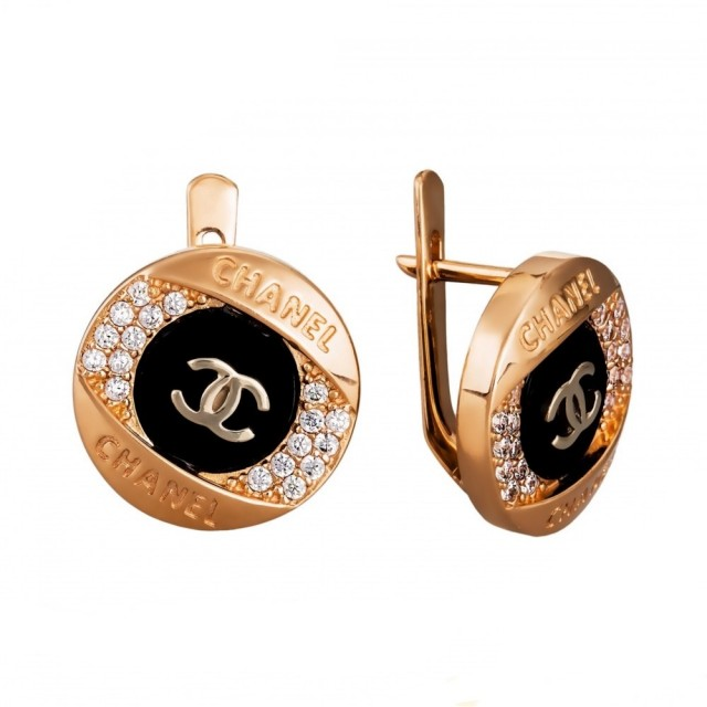 Золотые серьги Шанель СВ1589
