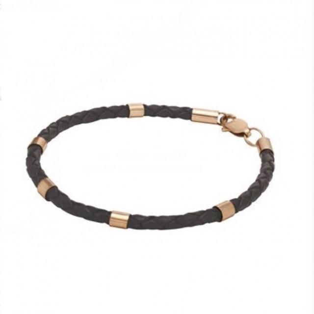 Золотой браслет с кожаным шнуром 910080 фото