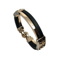Золотой мужской браслет с каучуком 005202
