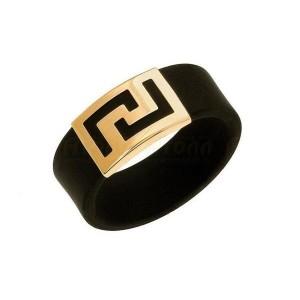 Золотое кольцо с каучуком 900633