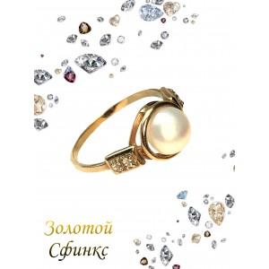 Золотое кольцо с жемчугом 5 фото
