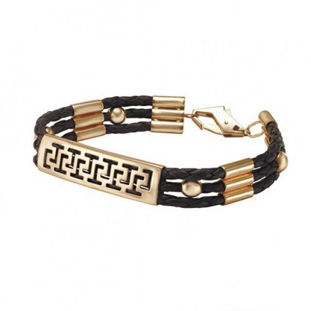 Золотой браслет с кожаным шнуром 910065 фото