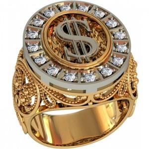 Золотая мужская печатка 701280
