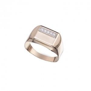 Золотая мужская печатка 391086