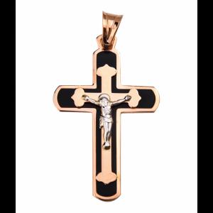 Золотой крест с эмалью 210100 фото