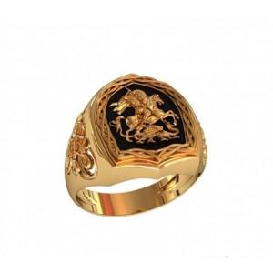 Золотая мужская печатка 700749