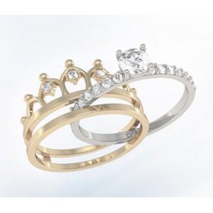 Золотое женское кольцо корона K097 Platon