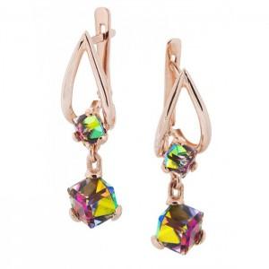 Золотые женские серьги с кристаллами Сваровски 1510 KievG