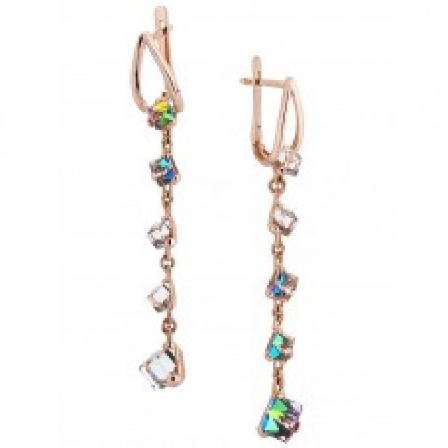 Золотые женские серьги с кристаллами Сваровски 1512-2 KievG