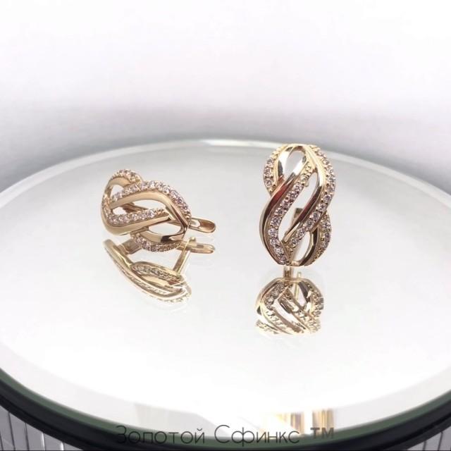 Золотые женские серьги 21075401