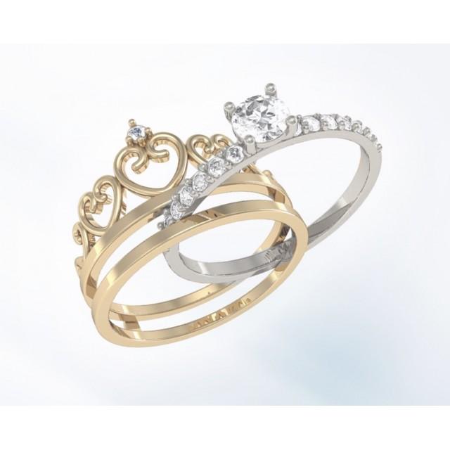 Золотое женское кольцо корона K096 Platon