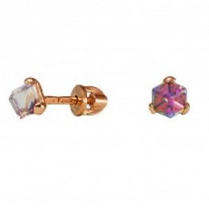 Золотые серьги гвоздики с кристаллами Сваровски 1511-2 KievG
