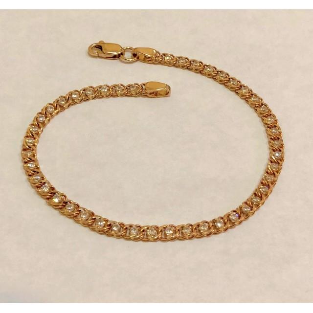 Золотой женские браслет с фианитами 2001 ХЦ