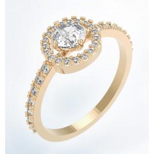 Золотое кольцо с фианитами К127 Platon