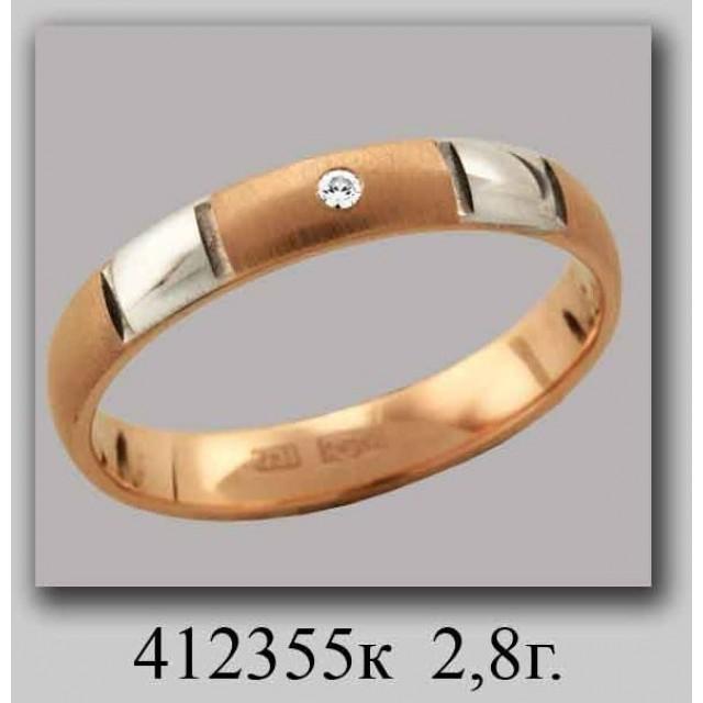 Золотое обручальное кольцо 412355