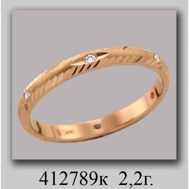 Золотое обручальное кольцо 412789