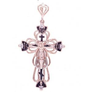Золотой крест с цирконами и эмалью 270075