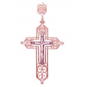 Золотой крест с цирконами 270080