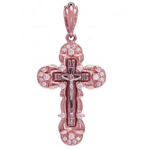 Золотой крест с цирконами и эмалью 270083