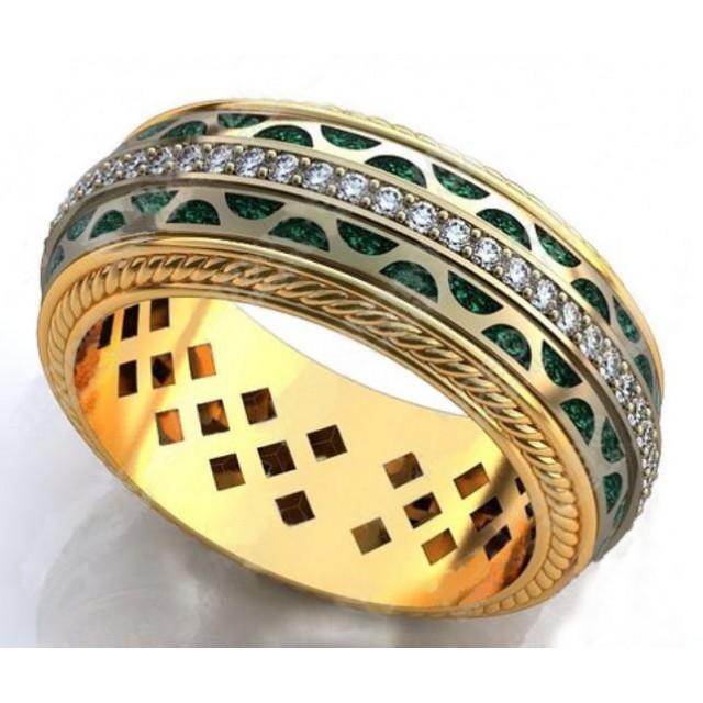 Золотое обручальное кольцо с эмалью 410178