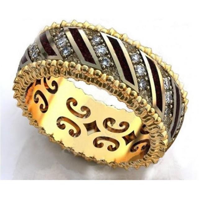 Золотое обручальное кольцо с эмалью 410180 фото