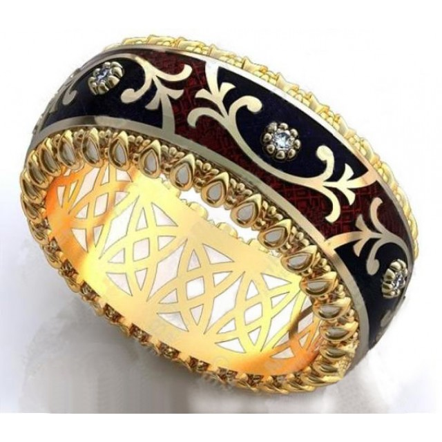 Золотое обручальное кольцо с эмалью 410182