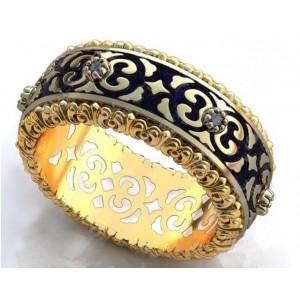 Золотое обручальное кольцо с эмалью 410183 фото