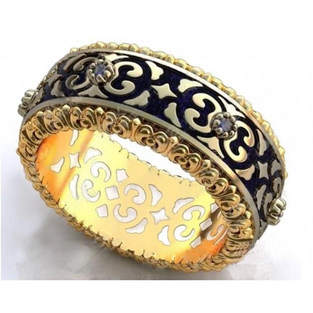 Золотое обручальное кольцо с эмалью 410183
