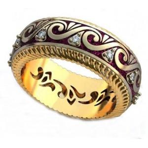 Золотое обручальное кольцо с эмалью 410184 фото