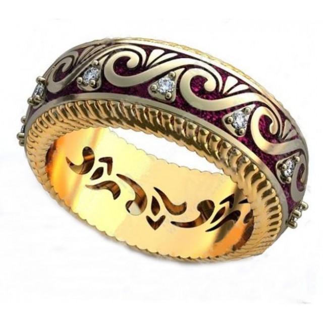 Золотое обручальное кольцо с эмалью 410184