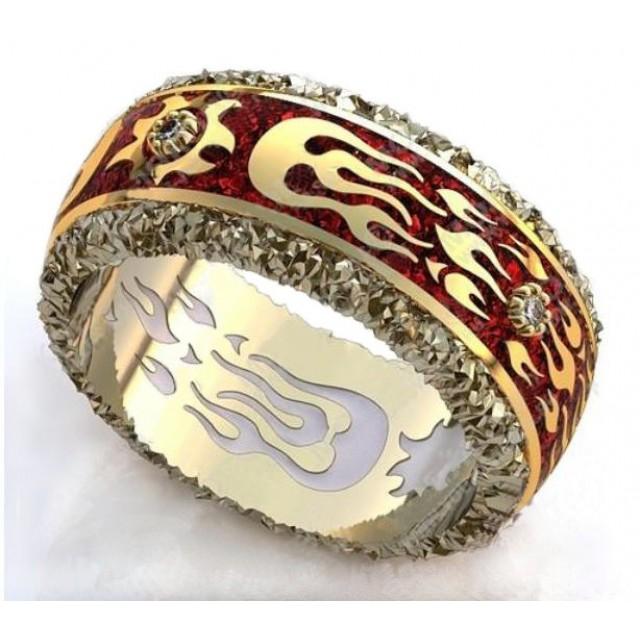 Золотое обручальное кольцо с эмалью 410185