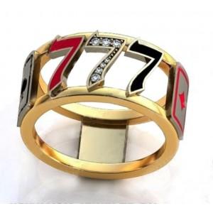 Золотое обручальное кольцо с эмалью 410186 фото