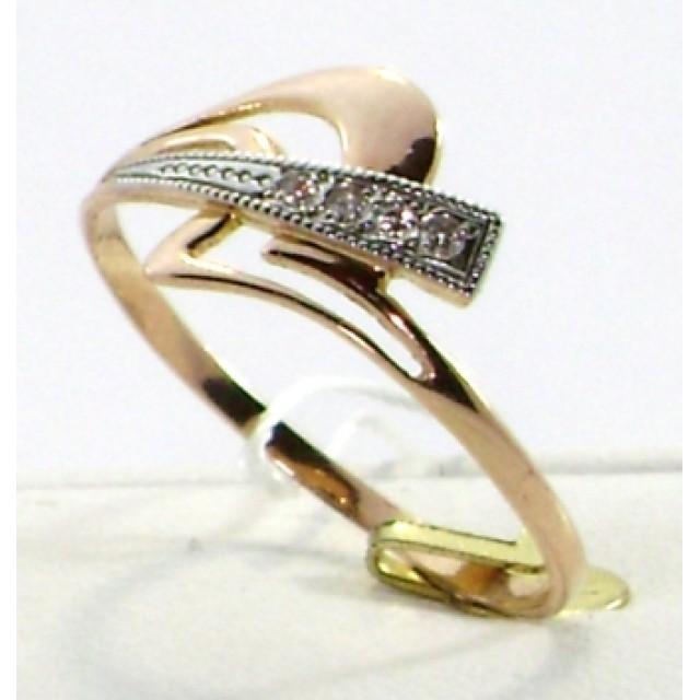 Золотое кольцо с цирконами 1/005