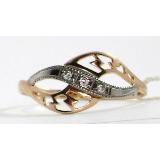 Золотое кольцо с цирконами 1/623