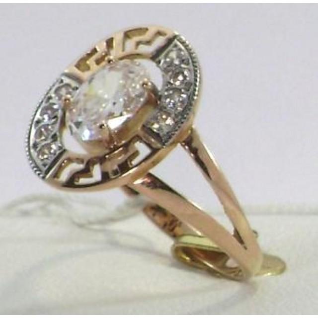 Золотое кольцо с цирконами 1/643