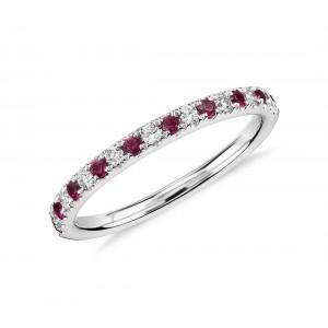 Золотое кольцо с бриллиантами и рубинами 1-12