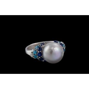 Серебряное кольцо с жемчугом 1783/9р Круасан фото