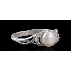 Серебряное кольцо с жемчугом 1776/9р Бусинка фото