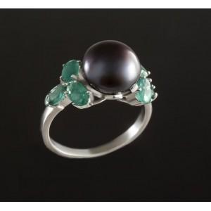 Серебряное кольцо с жемчугом 1782/9р Шато фото